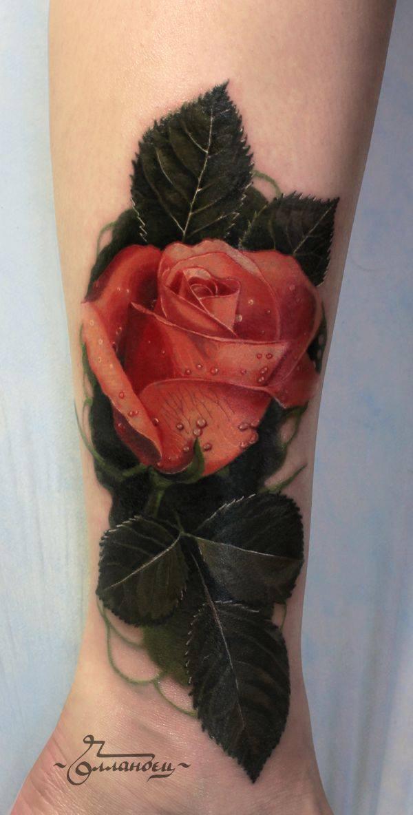 xăm hoa hồng theo phong cách tả thực
