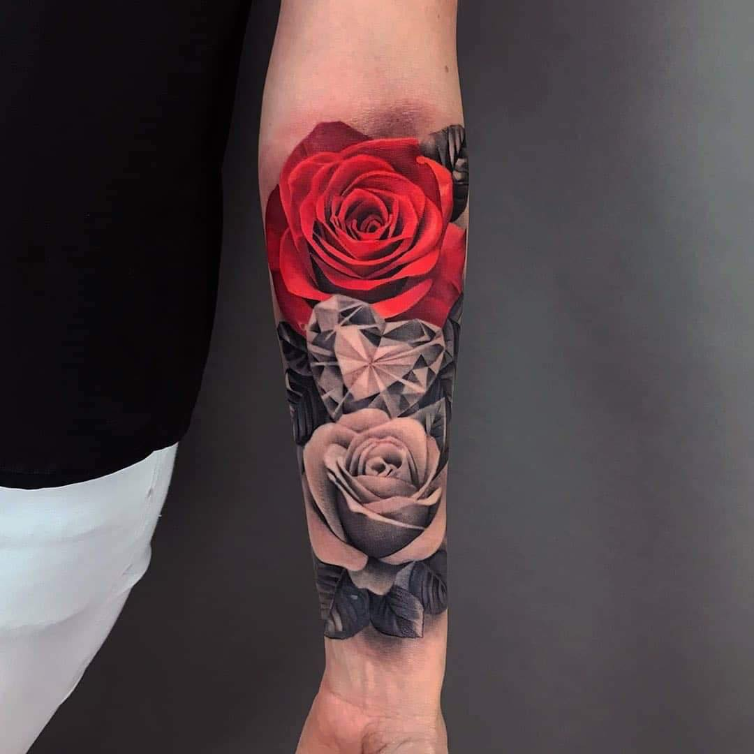 Hoa hồng và kim cương 2 cá thể đầy sự sắc xảo